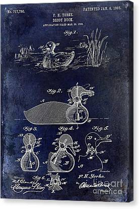 Hunting Bird Canvas Print - 1902 Duck Decoy Patent Drawing by Jon Neidert