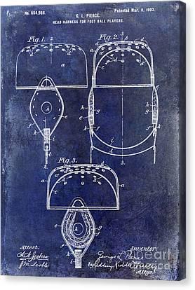 1902 Football Helmet Patent Drawing Blue Canvas Print by Jon Neidert