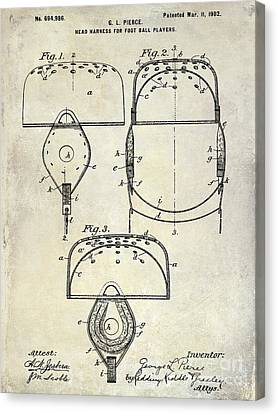 1902 Football Helmet Patent Drawing Canvas Print by Jon Neidert