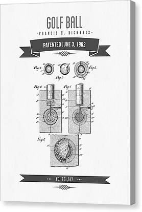1902 Golf Ball Patent Drawing - Retro Gray Canvas Print by Aged Pixel