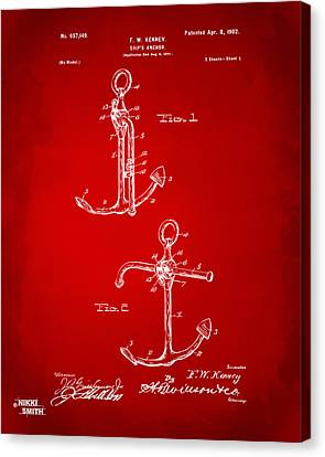 Sailboat Ocean Canvas Print - 1902 Ships Anchor Patent Artwork - Red by Nikki Marie Smith