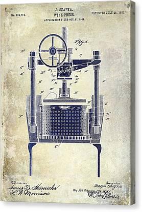 1902 Wine Press Patent Drawing 2 Tone Canvas Print by Jon Neidert