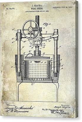1902 Wine Press Patent Drawing Canvas Print by Jon Neidert