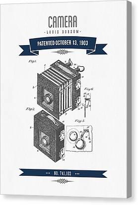 1903 Camera Patent Drawing - Retro Navy Blue Canvas Print