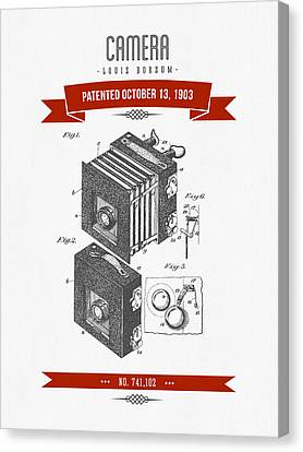 1903 Camera Patent Drawing - Retro Red Canvas Print by Aged Pixel