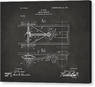 1903 Henry Ford Model T Patent Gray Canvas Print