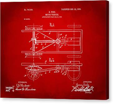 Innovator Canvas Print - 1903 Henry Ford Model T Patent Red by Nikki Marie Smith