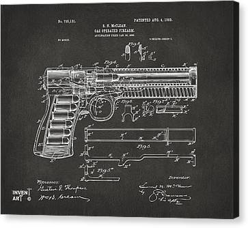 1903 Mcclean Pistol Patent Artwork - Gray Canvas Print by Nikki Marie Smith