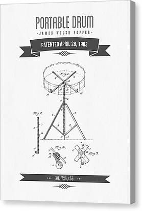 1903 Portable Drum Patent Drawing Canvas Print by Aged Pixel