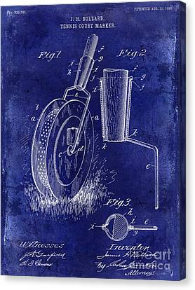 1903 Tennis Court Marker Patent Drawing Blue Canvas Print