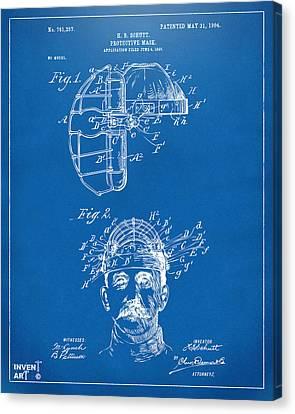 1904 Baseball Catchers Mask Patent Artwork - Blueprint Canvas Print by Nikki Marie Smith