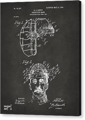 1904 Baseball Catchers Mask Patent Artwork - Gray Canvas Print by Nikki Marie Smith