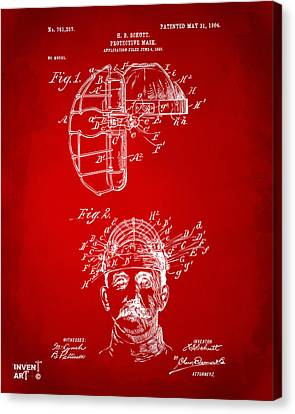 1904 Baseball Catchers Mask Patent Artwork - Red Canvas Print by Nikki Marie Smith