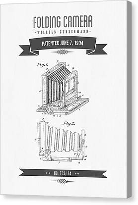 1904 Folding Camera Patent Drawing - Retro Gray Canvas Print by Aged Pixel