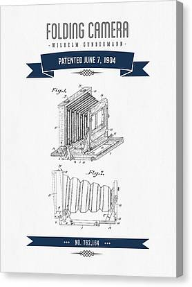 1904 Folding Camera Patent Drawing - Retro Navy Blue Canvas Print by Aged Pixel