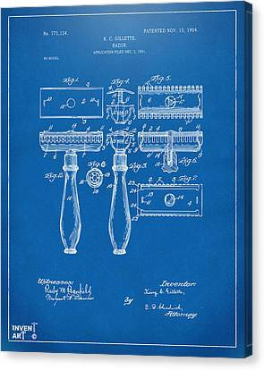 1904 Gillette Razor Patent Artwork Blueprint Canvas Print by Nikki Marie Smith