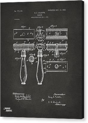 1904 Gillette Razor Patent Artwork - Gray Canvas Print by Nikki Marie Smith