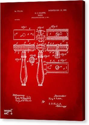 1904 Gillette Razor Patent Artwork Red Canvas Print by Nikki Marie Smith