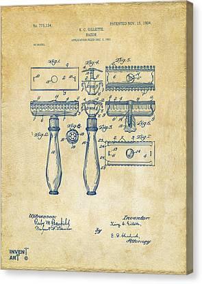 1904 Gillette Razor Patent Artwork Vintage Canvas Print by Nikki Marie Smith