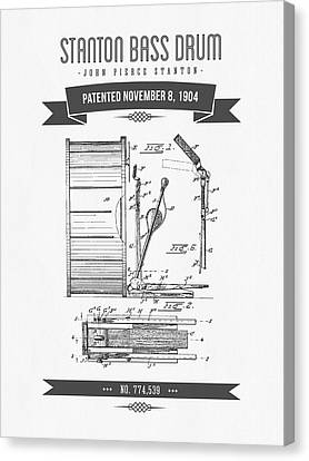 1904 Stanton Bass Drum Patent Drawing Canvas Print by Aged Pixel