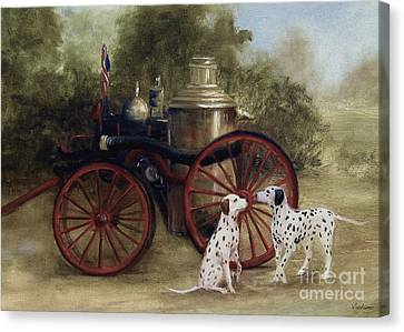 1905 Firehouse Dogs Canvas Print by Stella Violano