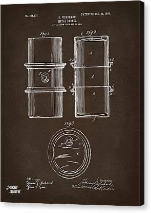 1905 Oil Drum Patent Artwork Espresso Canvas Print