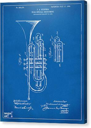 1906 Brass Wind Instrument Patent Artwork Blueprint Canvas Print by Nikki Marie Smith