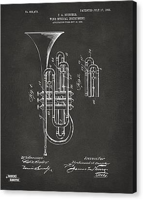 1906 Brass Wind Instrument Patent Artwork - Gray Canvas Print by Nikki Marie Smith