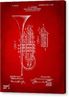 1906 Brass Wind Instrument Patent Artwork Red Canvas Print by Nikki Marie Smith