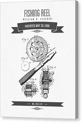 1906 Fishing Reel Patent Drawing Canvas Print by Aged Pixel