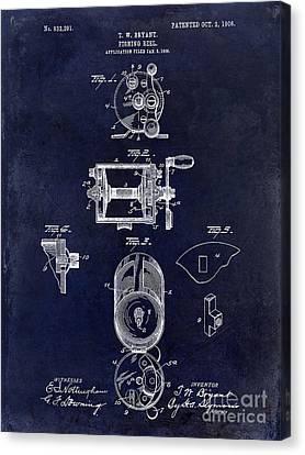 1906 Fishing Reel Patent Drawing.blue Canvas Print