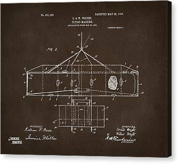 1906 Wright Brothers Airplane Patent Espresso Canvas Print by Nikki Marie Smith