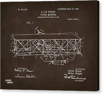 1906 Wright Brothers Flying Machine Patent Espresso Canvas Print by Nikki Marie Smith