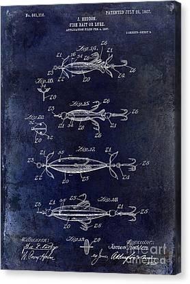 1907 Fishing Lure Patent Blue Canvas Print