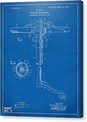1907 Henry Ford Steering Wheel Patent Blueprint Canvas Print by Nikki Marie Smith