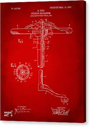 1907 Henry Ford Steering Wheel Patent Red Canvas Print by Nikki Marie Smith