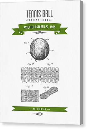 1907 Tennis Racket Patent Drawing - Retro Geen Canvas Print by Aged Pixel