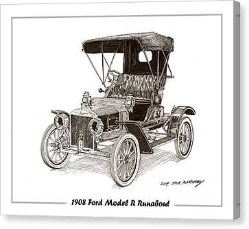 Black Top Canvas Print - 1908 Ford Model R Runabout by Jack Pumphrey