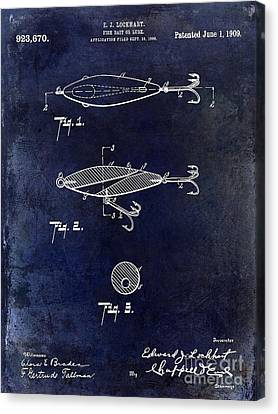 1909 Fishing Lure Patent Drawing Blue Canvas Print