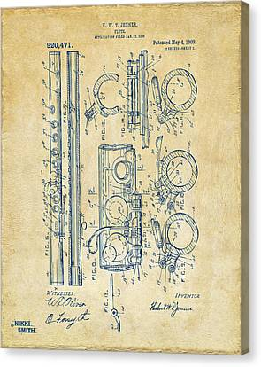 Marching Band Canvas Print - 1909 Flute Patent - Vintage by Nikki Marie Smith
