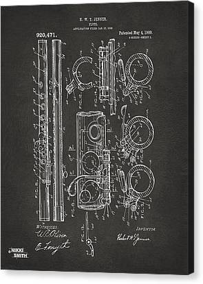 1909 Flute Patent - Gray Canvas Print by Nikki Marie Smith