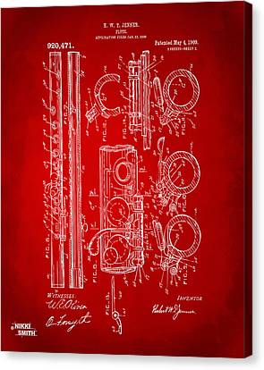 1909 Flute Patent In Red Canvas Print by Nikki Marie Smith
