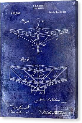 1909 Flying Machine Patent Drawing Blue Canvas Print by Jon Neidert