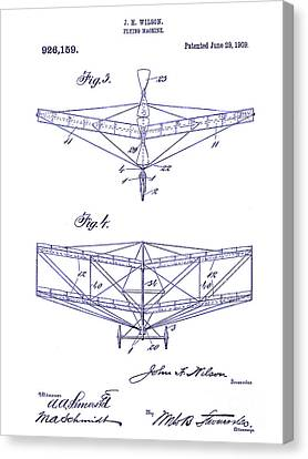1909 Flying Machine Patent Drawing Blueprint Canvas Print by Jon Neidert
