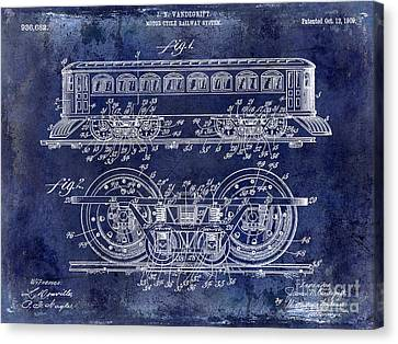 Vintage Trains Canvas Print - 1909 Railway System Patent Drawing Blue by Jon Neidert