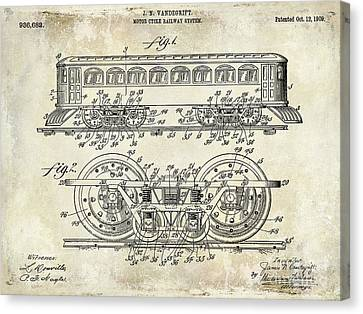 Vintage Trains Canvas Print - 1909 Railway System Patent Drawing  by Jon Neidert