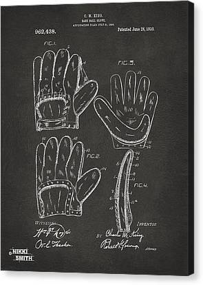 Baseball Glove Canvas Print - 1910 Baseball Glove Patent Artwork - Gray by Nikki Marie Smith