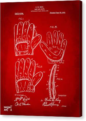 1910 Baseball Glove Patent Artwork Red Canvas Print by Nikki Marie Smith