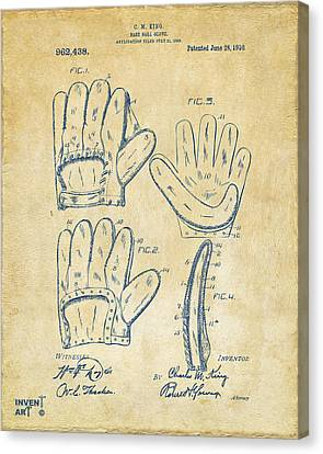 1910 Baseball Glove Patent Artwork Vintage Canvas Print by Nikki Marie Smith