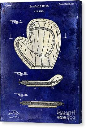 Baseball Canvas Print - 1910 Baseball Patent Drawing 2 Tone Blue by Jon Neidert